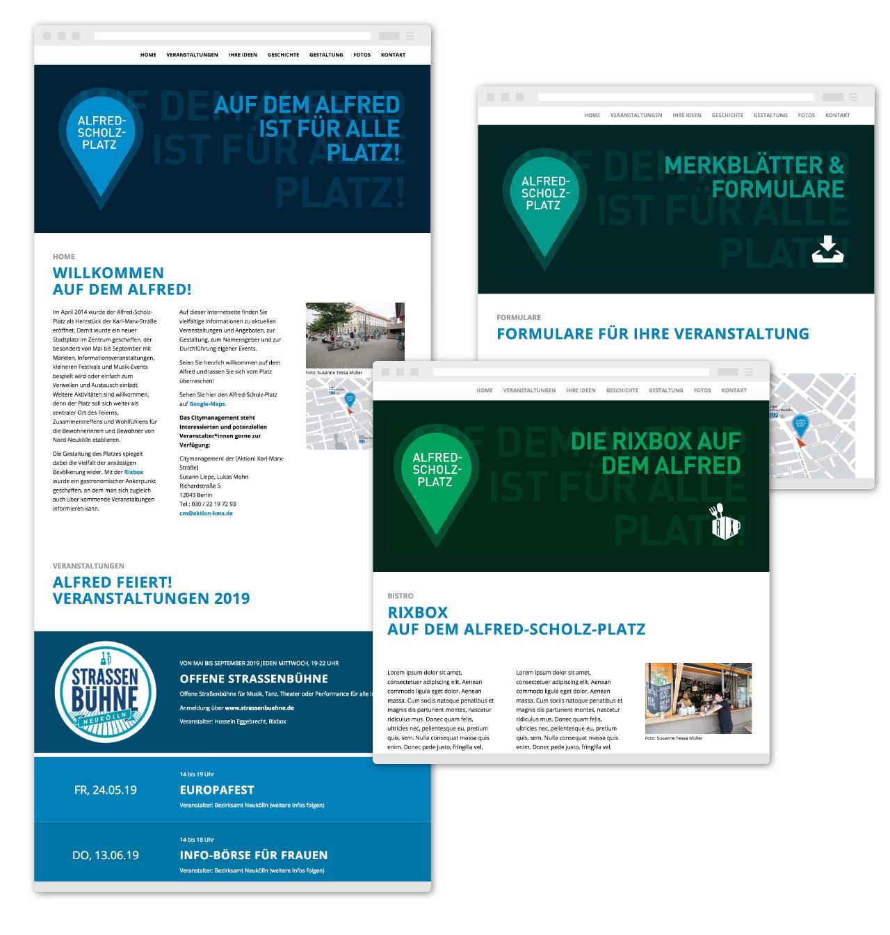 "Bergsee, blau – Webdesign ""Alfred Scholz-Platz"""