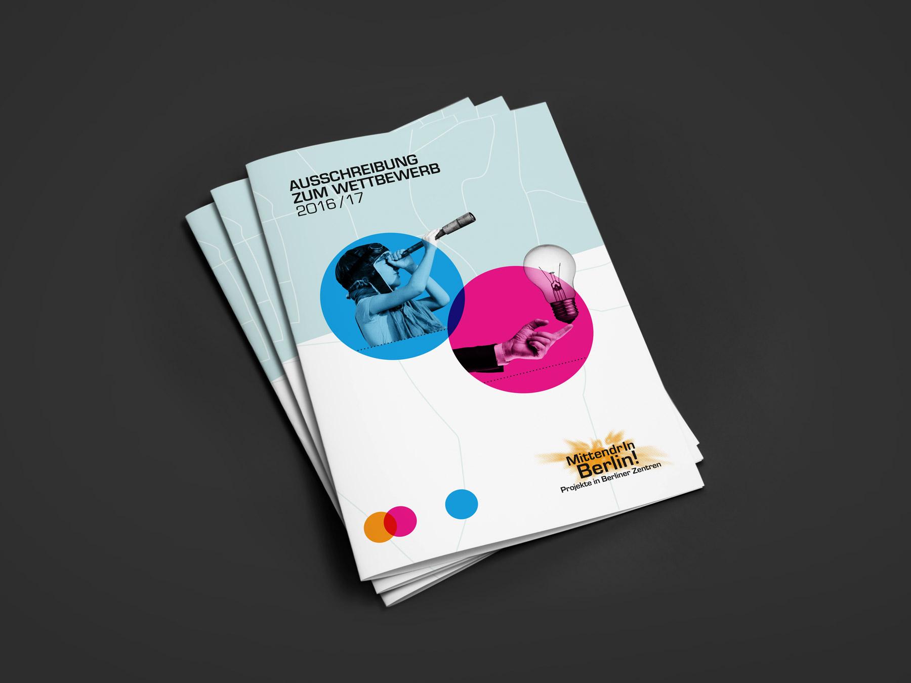 Bergsee, blau – Corporate Design Mittendrin Berlin 2016/2017